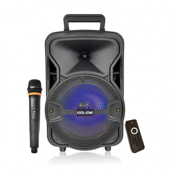 "VOCAL-STAR PORTABLE 8"" BLUETOOTH KARAOKE MACHINE SPEAKER WITH WIRELESS MICROPHONE & LED LIGHTS image"