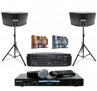 "Vocal-Star Karaoke ""Club Pack"" Including Amplifier, 2 Speakers, 2 Speaker & Microphone Stands  image"