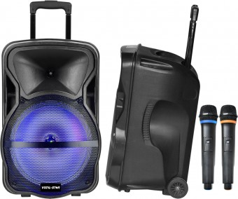 "Vocal-Star Portable 12"" Bluetooth Karaoke Machine Speaker With 2 Wireless Microphones & LED Lights image"