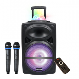 Vocal-Star Portable Disco Karaoke Machine With Bluetooth, 2 Wireless Microphones & Light Effects image
