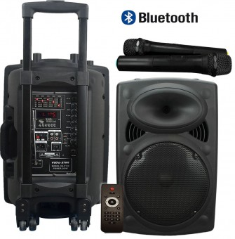 "Vocal-Star VS-P120 Portable 12"" 300w Speaker PA Unit With Bluetooth & 2 VHF Wireless Microphones image"