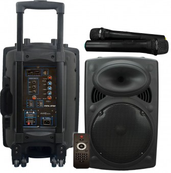 "Vocal-Star VS-P120 Portable 12"" 300w Speaker PA Unit With Bluetooth, 2 VHF Wireless Microphones & Led Light Effect image"