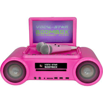 Vocal-Star Pink Portable Boombox CDG DVD Karaoke Machine With Screen,Speakers, Bluetooth 2 Microphones & 150 Songs image