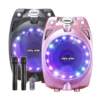 Vocal-Star VS-SP30 Portable Karaoke Machine Speaker set 2 Wireless Microphones & Bluetooth image